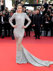 Doutzen Kroes commanded attention in a tinsel-embellished fishtail gown by Balmain at the Cannes Film Festival screening of 'The Beguiled.'