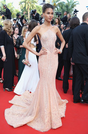 Cindy Bruna was a standout in a champagne-hued halterneck mermaid gown by Georges Hobeika Couture at the Cannes Film Festival screening of 'The Beguiled.'