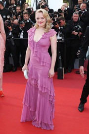 Elisabeth Moss chose a purple ruffle gown by Prabal Gurung for the Cannes Film Festival screening of 'The Beguiled.'