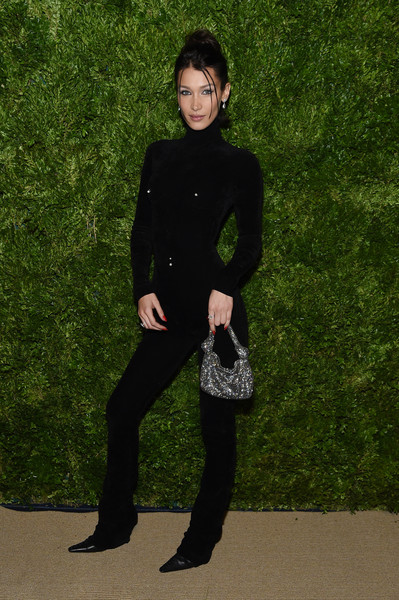 Bella Hadid Beaded Purse [clothing,standing,fashion,footwear,leg,photography,outerwear,shoe,formal wear,suit,bella hadid,vogue fashion fund 2019 awards,new york city,cipriani south street,cfda]