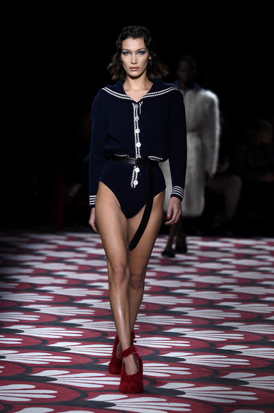 Bella Hadid Pumps [fashion model,fashion,fashion show,runway,clothing,fashion design,model,haute couture,shoulder,event,bella hadid,miu miu,part,runway,paris,france,paris fashion week womenswear fall,runway,fashion show,fashion,supermodel,haute couture,model]