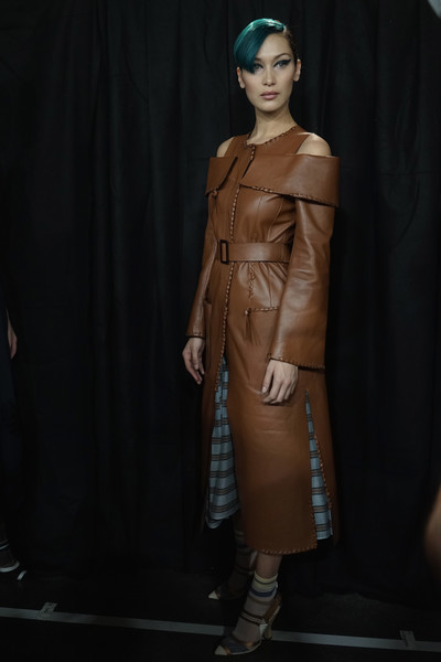 Bella Hadid Leather Coat