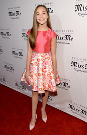 Maddie Ziegler went for a playful finish with a lip-print skirt.