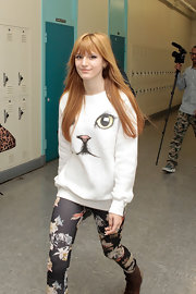 Bella Thorne definitely makes being a cat lady cool with this cat face sweatshirt.