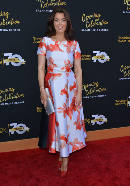 Bellamy Young Print Dress [red carpet,clothing,carpet,dress,fashion,flooring,premiere,hairstyle,shoulder,footwear,bellamy young,chris delmas,los angeles,california,television academy,afp,70th anniversary gala - arrivals,television academy 70th anniversary celebration]