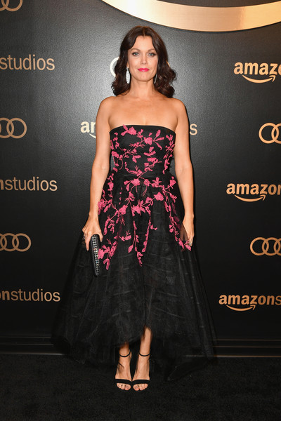 Bellamy Young Strappy Sandals [clothing,dress,fashion model,strapless dress,shoulder,waist,cocktail dress,fashion,premiere,gown,arrivals,bellamy young,beverly hills,california,the beverly hilton hotel,amazon studios,amazon studios golden globes celebration]