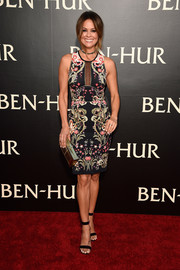 Brooke Burke chose a symmetrical-print, mesh-panel dress for the LA premiere of 'Ben-Hur.'