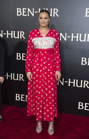 Andra Day went old school in an ankle-length red and white print dress at the LA premiere of 'Ben-Hur.'