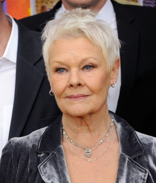 More Pics of Judi Dench Messy Cut (1 of 23) - Judi Dench Lookbook - StyleBistro [hair,face,hairstyle,blond,eyebrow,forehead,chin,premiere,wrinkle,ear,premiere,new york premiere,the best exotic marigold hotel,new york,ziegfeld theatre,judi dench]