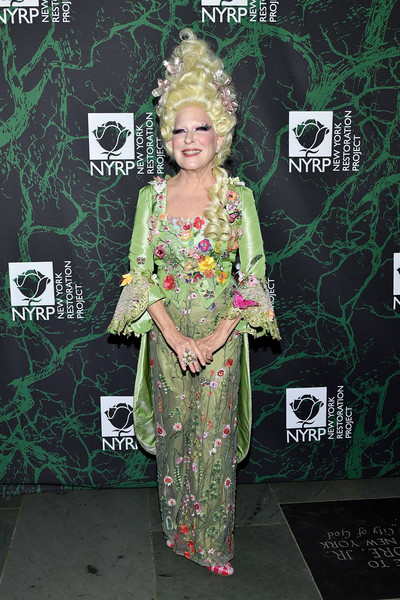 Bette Midler Pantsuit [clothing,green,premiere,fashion,carpet,fashion design,formal wear,dress,flooring,style,bette midler,arrivals,the new york restoration project,new york city,cathedral of st. john the divine,new york restoration project,2017 hulaween event,event,hulaween]
