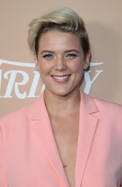 Betty Who Fauxhawk [hair,face,hairstyle,blond,eyebrow,pink,chin,forehead,lip,brown hair,betty who,sunset tower,los angeles,california,variety,2nd annual hitmakers brunch - arrivals,2nd annual hitmakers brunch]