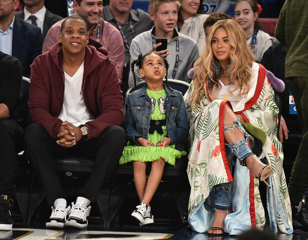 Beyonce Knowles Printed Coat [people,event,fashion,crowd,fun,audience,performance,competition,fan,new orleans,louisiana,smoothie king center,nba all-star game,celebrities,jay z,beyonce knowles,blue ivy carter]