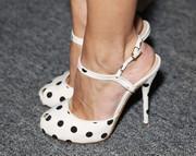 Olivia Palermo attended the Bibhu Mohapatra fashion show wearing an adorable pair of black-and-white polka-dot peep-toes.