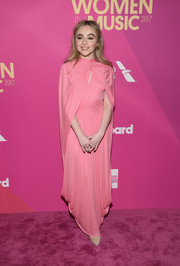 Sabrina Carpenter was classic and sweet in a caped pink gown by Céline at the 2017 Billboard Women in Music event.