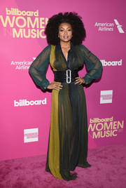 Taraji P. Henson slayed in a sheer maxi shirtdress by Schiaparelli Couture at the 2017 Billboard Women in Music event.
