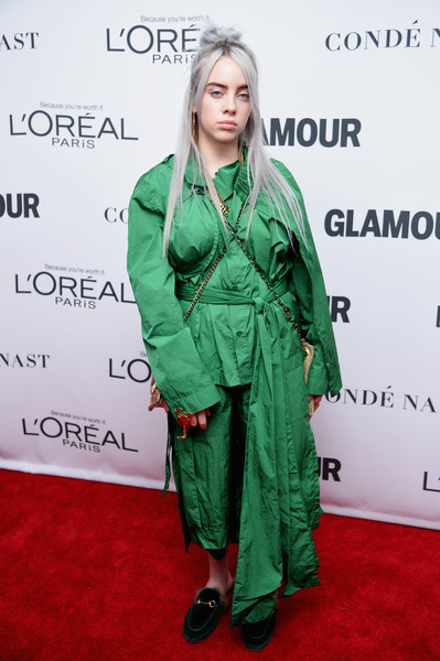 Billie Eilish Loose Blouse [green,clothing,carpet,red carpet,outerwear,hairstyle,premiere,flooring,dress,fashion design,arrivals,carpet,billie eilish,women of the year awards,iheartradio music awards,red carpet,clothing,brooklyn,glamour,glamour celebrates 2017 women of the year awards,billie eilish,red carpet,2019 iheartradio music awards,red carpet fashion,singer,music,musician,coachella valley music and arts festival,iheartradio,iheartradio music awards]