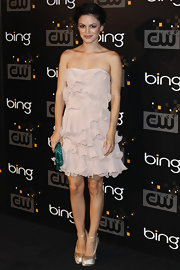 Rachel Bilson chose a pair of nude satin platform peep-toes by Giuseppe Zanotti to complete her look.