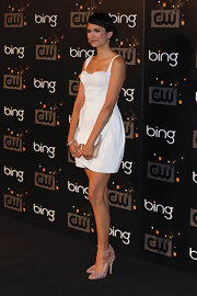 Nina Dobrev wore a pair of shimmery lavender heels with ankle straps at the CW premiere party.