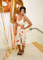 Jessica Szohr's cherry-print pencil skirt and bra top were a super-cute pairing.