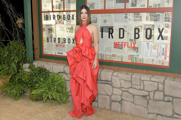 More Pics of Sandra Bullock Red Lipstick (3 of 16) - Sandra Bullock Lookbook - StyleBistro [red,clothing,fashion,dress,textile,abdomen,sandra bullock,bird box,new york,alice tully hall,lincoln center,screening,screening]