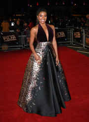 Gabrielle Union was a knockout in a Zuhair Murad ball gown, featuring a deep-V halter bodice and a butterfly-print skirt, at the BFI London Film Festival premiere of 'The Birth of a Nation.'