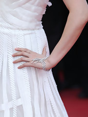Fan attended the Cannes Film Festival wearing a diamond bracelet draped across her wrist.