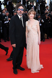 Isabelle Huppert was resplendent in a beaded nude Grecian gown at the premiere of 'Biutiful.'