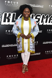 Danielle Brooks slipped into an embroidered satin kimono for the New York premiere of 'BlacKkKlansman.'