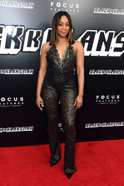 Tiffany Haddish looked seductive in a sheer lace jumpsuit at the New York premiere of 'BlacKkKlansman.'