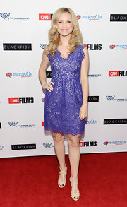Fiona Gubelmann's purple lace cocktail dress gave her a classic look on the red carpet.