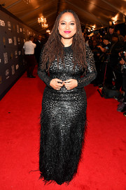 Ava DuVernay shimmered in a sequined and feathered gown by Michael Kors at the 2018 Black Girls Rock! event.