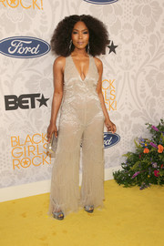 Angela Bassett looked effortlessly glam in a fringed and scalloped jumpsuit by Alberta Ferretti Limited Edition at Black Girls Rock 2019.