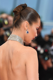 Bella Hadid pulled her hair back into a tight knot for the Cannes Film Festival screening of 'BlacKkKlansman.'