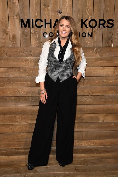 Blake Lively Vest [clothing,suit,formal wear,fashion,pantsuit,outerwear,tuxedo,trousers,blazer,photography,blake lively,front row,new york city,michael kors fw20 runway show,blake lively,serena van der woodsen,gossip girl,fashion,actor,celebrity,new york fashion week,photograph,style]