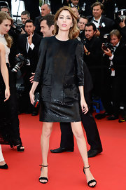 Sofia Coppola stunned in a shiny black shift dress, which she sported to 'The Bling Ring' premiere at the Cannes Film Festival.