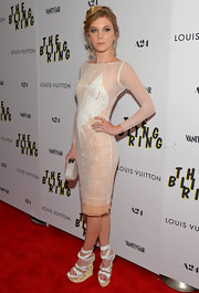 Claire Julien sported a nude chiffon dress with a white tulle overlay on the red carpet of 'The Bling Ring.'