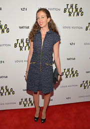 Chiara Clemente chose a blue printed dress for her red carpet look at 'The Bling Ring' screening.