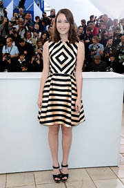 Katie Chang chose this nude-and-black striped A-line for her mod-inspired look at Cannes.