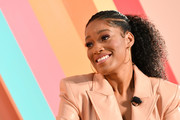 Keke Palmer styled her hair into a cornrow ponytail for the #BlogHer19 Creators Summit.