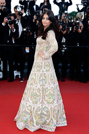 Aishwarya Rai opted for color on the red carpet when she rocked this pastel embroidery frock.