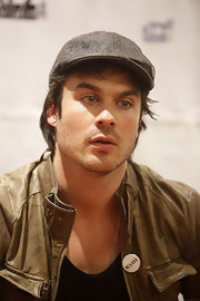Ian Somerhalder rocked a tweed newsboy cap while visiting Berlin for a press conference.