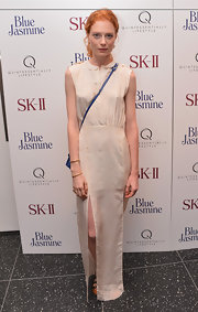 Jessica Joffe's cream-colored maxi looked simple and classic with its tiny Peter Pan collar and double slits on the legs.