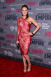 "Christiane Seidel made us go ""Ooh la la"" with this red lace-overlay one-shoulder dress at the 'Boardwalk Empire' season four premiere."