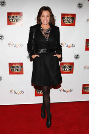 LuAnn de Lessep bundled up in this belted woolly coat for the opening night of 'Bonnie & Clyde' on Broadway.