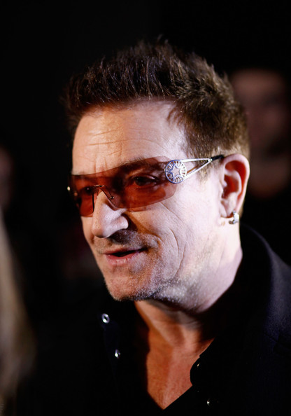 Bono Rimless Sunglasses [eyewear,chin,glasses,forehead,human,facial hair,vision care,moustache,smile,portrait,bono,edun - backstage,new york city,skylight west,edun,mercedes-benz fashion week,fashion show,edun fall]