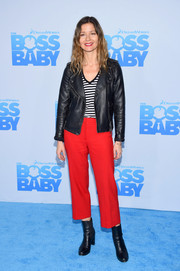 Jill Hennessy attended the New York premiere of 'The Boss Baby' wearing a black leather jacket over a striped shirt.
