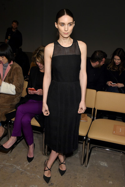 Rooney Mara looked simply elegant in a sleeveless, sheer-panel LBD at the Boss Fall 2016 show.