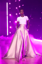 Maria Borges' blush ball skirt and white tee were a gorgeous pairing!