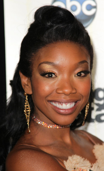 Brandy Gold Chandelier Earrings [dancing with the stars,season,hair,eyebrow,face,hairstyle,black hair,lip,forehead,skin,beauty,chin,arrivals,dancer brandy,california,los angeles,cbs television city,premiere,premiere]