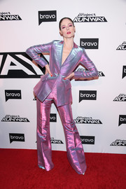 Coco Rocha looked futuristic in an iridescent pantsuit by Christian Siriano at the 'Project Runway' New York premiere.